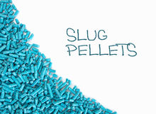 Blue slug pellet border, white background. Royalty Free Stock Images