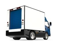 Blue small box truck - rear view. Isolated on white background Stock Photos