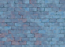 Blue small brick hi-res wall pattern Stock Image