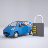 Blue small car and combination lock. 3d render on gray background Royalty Free Stock Photos