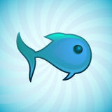 Blue small fish, isolated illustration Royalty Free Stock Images