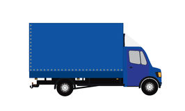 Blue Small truck. Silhouette. Vector Illustration. Royalty Free Stock Image
