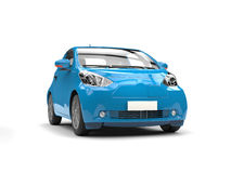 Blue small urban modern electric car - studio shot Royalty Free Stock Image