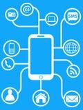 Blue smart phone network background. The design of smart phone network on blue background Stock Photography