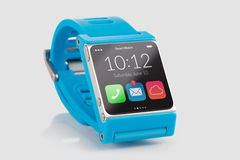 Blue smart watch close up Stock Photos