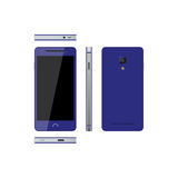 Blue smartphone on a white background. Phone in different views: Stock Images