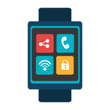 Blue smartwatch with colorful media icon, graphic Royalty Free Stock Photography