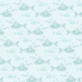Blue Smile Fish Music Seamless Pattern. Seamless pattern blue background vector Royalty Free Stock Photo