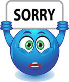 Blue smiley apologizes Stock Photos