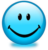 Blue Smiley Face Button. A Blue Happy Smiley Face Button, or Badge, or Icon Royalty Free Stock Photos