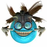 Blue smiley face with mask Stock Photography
