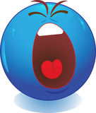 Blue smiley face screaming Royalty Free Stock Photography