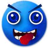 Blue smiley fur isolated. Digital drawing painting blue smiley monster fur cute isolated white background tongue out stock photo
