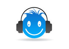 Blue Smiley with headphones. High resolution blue smiley graphic with headphones stock illustration