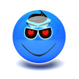 Blue smiley in love Royalty Free Stock Photo