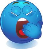 Blue Smiley yawns. Stock Photo