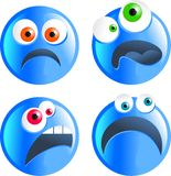 Blue smilies. Set of blue cartoon funny faced unhappy smilie emoticons Vector Illustration