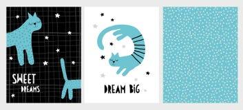Cute Hand Drawn Blue Cats Vector Illustration Set. Abstarct Infantile Style Design. stock illustration