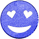 Blue smiling face shining with heart-shaped eyes Stock Image