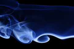 Blue Smoke 9. Abstract curves of blue smoke on a black background Royalty Free Stock Photos