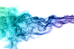 Blue smoke. With beautiful shape in front of white background stock images
