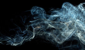 Blue Smoke On Black Stock Photos