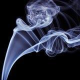 Blue Smoke on black background. Detail of Blue Smoke on black background Stock Images
