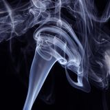 Blue Smoke on black background. Detail of Blue Smoke on black background Royalty Free Stock Photos