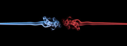 Blue smoke vs red smoke abstract Royalty Free Stock Photos