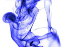 Blue smoke on white background. Photo of abstract background Stock Photography