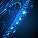 Blue smooth twist light lines vector background Stock Image
