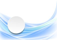 Blue smooth wavy background with blank circle Royalty Free Stock Photography
