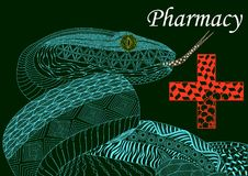 Blue snake with a cross in zenart style,pharmacy, color pattern, Stock Photography