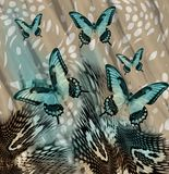 Snake skin butterflies background. Blue snake skin butterflies background royalty free stock images