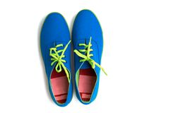 Blue sneaker on white background Stock Photos