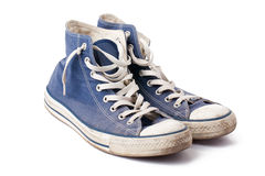 Blue sneakers. The blue sneakers on white background Royalty Free Stock Photography