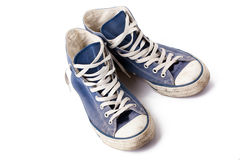 Blue sneakers. The blue sneakers on white background Stock Image