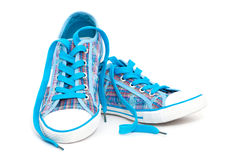 Blue sneakers Royalty Free Stock Images