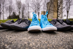 Blue Sneakers. Lying on asphalt with elegant classic shoes royalty free stock photo