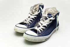 Blue sneakers. On white background Stock Photo