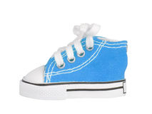 Blue sneakers. Sneakers blue colour with lace on white background Royalty Free Stock Image