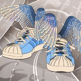The blue sneakers of Hermes with wings on the crossroads. Illustration about freedom of choice Stock Photography