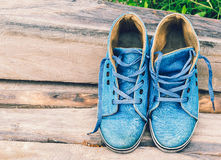 Blue sneakers Stock Image