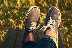 Blue sneakers Royalty Free Stock Photos