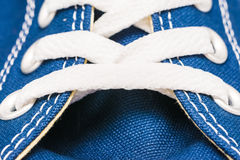Blue Sneakers Shoe Laces Close Up. Details Royalty Free Stock Photography