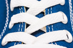 Blue Sneakers Shoe Laces Close Up. Details Royalty Free Stock Images