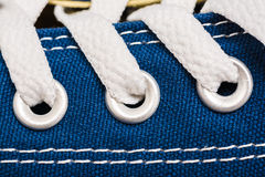 Blue Sneakers Shoe Laces Close Up. Details Stock Photo
