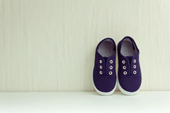 Blue sneakers. Shoes on white background. Place for your text Stock Photos
