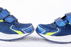 Blue sneakers for sport activity. Royalty Free Stock Image