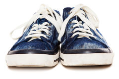 Blue sneakers on white background Royalty Free Stock Images